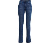 Painted Distressed High-rise Slim-leg Jeans Mid Denim  5