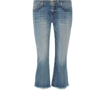 The Cropped Flip Flop frayed low-rise flared jeans