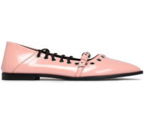 Eyelet-embellished Faux Patent-leather Point-toe Flats Pastel Pink