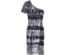 One-shoulder tie-dyed ribbed-knit mini dress