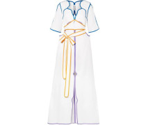 Belted Color-block Cotton-poplin Maxi Dress White