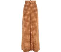Belted Polka-dot Silk Crepe De Chine Wide-leg Pants