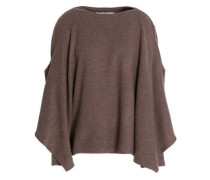 Cape-effect draped wool sweater