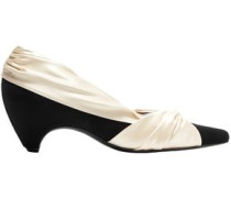 Two-tone Knotted Satin And Faux Suede Pumps Ivory