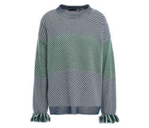 Fringe-trimmed Intarsia-knit Sweater Navy