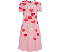 Woman Flared Floral-jacquard Dress Baby Pink