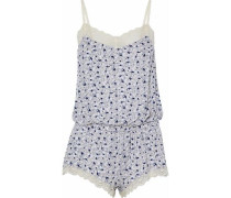 Lace-trimmed printed modal-blend playsuit