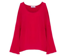 Bonsai cold-shoulder silk-chiffon top