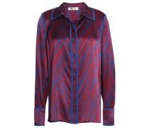 Printed Silk-satin Shirt Royal Blue