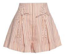 Lace-up Striped Linen Shorts Blush Size 0