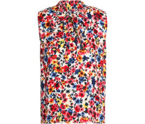 Pussy-bow floral-print crepe blouse