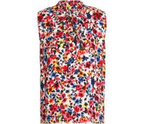 Draped floral-print crepe top
