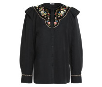 Embroidered velvet-paneled cotton and silk-blend faille shirt