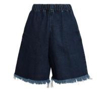 Frayed Denim Shorts Dark Denim