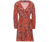 Ruffle-trimmed Leopard-print Crepe Mini Wrap Dress Tomato Red Size 1