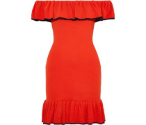 Carpi Off-the-shoulder Ruffled Stretch-knit Mini Dress Tomato Red