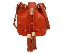 Studded quilted leather and suede bucket bag