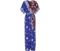 Wrap-effect belted floral-print silk jumpsuit