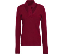 Adelise Tie-neck Ribbed Merino Wool-blend Top Claret