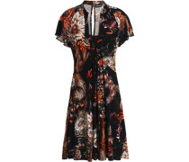 Flared ruffled printed stretch-jersey dress