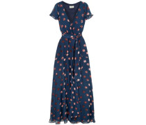 Devoré-chiffon Wrap Dress Navy Size 14