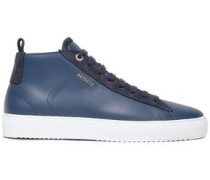 Suede-trimmed Leather Sneakers Navy