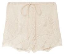 Cotton Macramé Lace Shorts Ecru