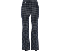 Zip-embellished Checked Tweed Flared Pants Midnight Blue