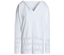Paneled cotton hooded top