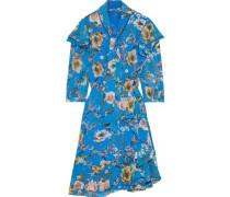 Sommer Tie-neck Ruffle-trimmed Floral-print Georgette Dress Azure