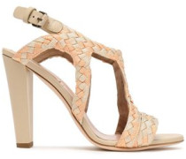 Woman Leather-trimmed Braided Canvas Sandals Pastel Orange