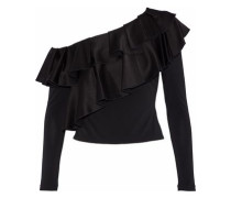 Izzy one-shoulder ruffled satin-crepe top