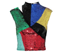 Woman Tiana Cropped Cutout Sequined Mesh Top Multicolor