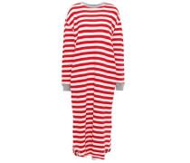 Woman Striped Slub Cotton-jersey Nightdress Red