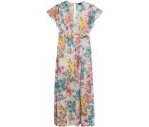 Wrap-effect floral-print fil-coupé maxi dress