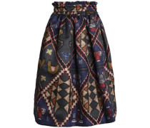 Pleated printed gabardine skirt