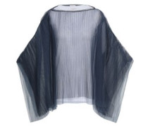 Bead-embellished Cape-effect Plissé Tulle Top Navy