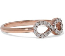 Infinity rose gold-plated sterling silver crystal ring