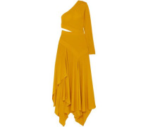 Woman One-shoulder Asymmetric Cutout Crepe Gown Marigold