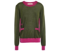 Two-tone Cashmere Sweater Army Green