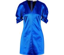 Gathered Duchesse-satin Mini Dress Bright Blue Size 0