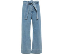 Cropped High-rise Wide-leg Jeans Light Denim