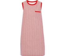 Ruffled poplin-paneled striped cotton-jersey dress