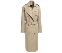 Double-breasted Cotton-blend Twill Trench Coat Sand