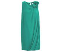 Woman Draped Floral-appliquéd Silk-crepe Mini Dress Jade