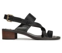 Embossed Leather Slingback Sandals Black