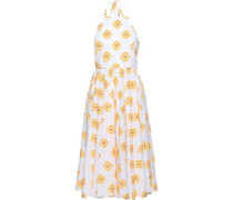 Gretta Fil Coupé Cotton-blend Jacquard Halterneck Dress White