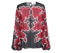 Floral-print silk-organza blouse