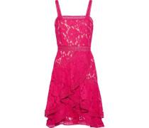 Angelita Ruffled Cotton-blend Guipure Lace Dress Fuchsia Size 0