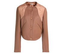 Quilted Shell-paneled Wool-twill Jacket Light Brown
